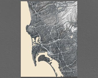 San Diego Map Print, Black and White Art, Vintage Inspired, California