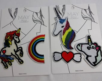 Unicorn patches, rainbow, heart with wings, set of 5, iron on or sew on to decorate jeans, jacket, or backpack