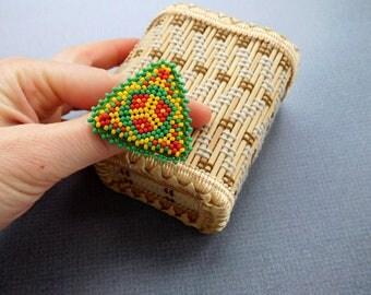Boho Rings, Ethnic rings, yellow beadwork rings