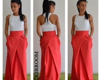ON SALE Maxi fashion skirt/Spring Red long skirt / Woman high waist red skirt / Woman cotton long skirt