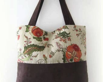 Carrier bag in brown suede and linen flowery