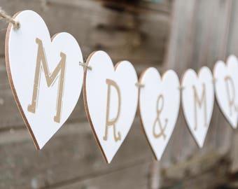 Wooden Mr & Mrs Heart Bunting, Wedding bunting, wooden wedding bunting