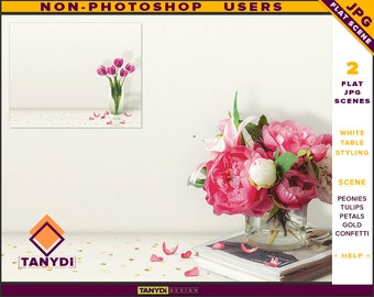Table Styling   2 Styled JPG Scenes   Non-Photoshop   White Table   Pink Tulips Peonies   Gold Confetti & Petals   Blank Empty wall