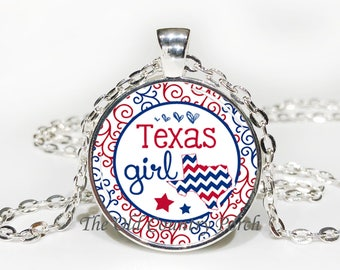 Texas Girl-Glass Pendant Necklace/Graduation gift/mothers day/bridal gift/Easter gift/Gift for her/girlfriend gift/friend gift/birthday