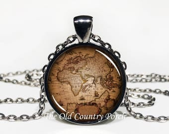 Old Vintage World Map-Glass Pendant Necklace/Graduation gift/mothers day/Gift for her/girlfriend gift/friend gift/birthday gift