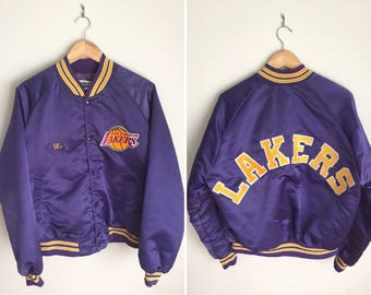 Rare Vintage 80s Los Angeles Lakers Jacket Mens L / NBA Basketball Chalk Line