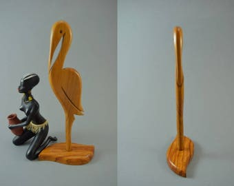 Vintage wooden storck bird sculptur figurine, Mid Century Design, popular design object of the 60s