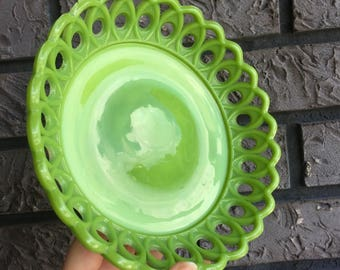 "FREE SHIP Green Slag Glass Candy Bowl Dish 7"" Diameter Eyelet Milk Glass"