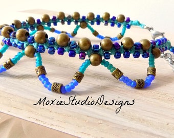 Macrame Tribal Ankle bracelet, Boho Ankle Bracelet, Hippie Anklet, Gypsy Anklet, Boho Anklet, Beach Jewelry, Vacationwear
