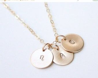 SUMMER17 Gold Initial Necklace / Personalized Disc Necklace / 14K Gold Initial Necklace / Kids Initial Necklace / Silver Disc Initial Neckla