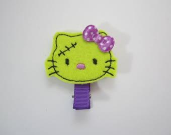 Hello Kitty zombie felt embroidered hair clip handmade