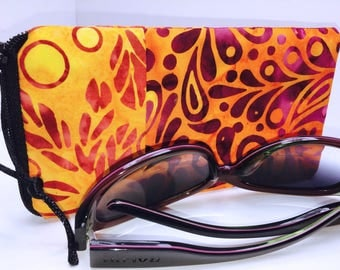 VIBRANT Glasses Case, BATIK Zip Top Eyeglass Case, Zipped Sunglasses Case, Slim Glasses Case, Sunglass Case