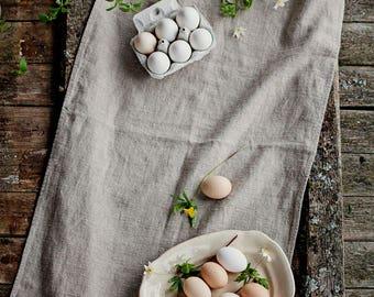linen table runner, rustic linen, runner, flax, wedding decor, softened linen