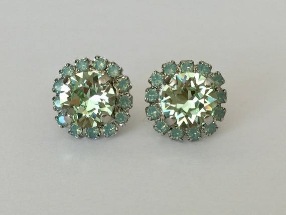 Chrysolite & Pacific Opal Swarovski Crystal Earrings, Silver