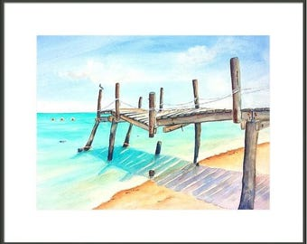 Pier painting, Hand Painted ORIGINAL Watercolor, 18x24, Large Beachy ,wall decor, Turquoise water, Mexican riviera, Beach decor wall art