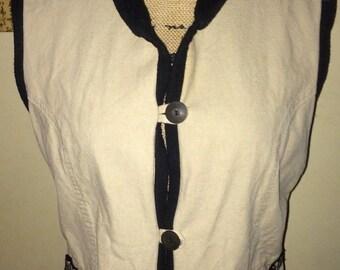 KAVU Fleece Lined Khaki Canvas Vest, Looped Buttons, Southwest Trim, Ladies Medium