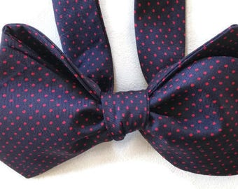 Silk Bow Tie  for Men - Micro Dot  - One-of-a-Kind, Handcrafted - Self-tie - Free Shipping