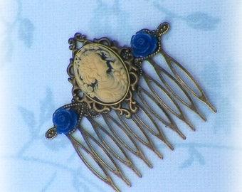Roses Blue Cameo Hair Comb Bridal Victorian White Gyspy Boho Vintage Style Steampunk Wedding Gothic Bohemian