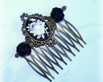 Gothic Hair Comb Black Cameo Vintage Style  Bridal Victorian Rose Gyspy Boho  Steampunk Wedding Gothic Bohemian