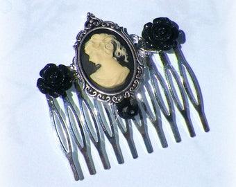 Black Gothic Hair Comb Cameo Vintage Style  Bridal Victorian Rose Gyspy Boho  Steampunk Wedding Gothic Bohemian