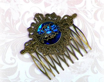 Blue Victorian Hair Comb Vintage Style Bridal Rose Gyspy Boho  Steampunk Wedding Gothic Bohemian Reproduction