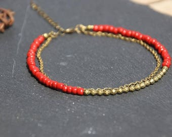 Ethnic boho Bohemian, MULTISTRAND, Indian Red seed beads, metal chain bronze ankle bracelet