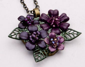 Purple Flower Necklace - Hand Painted Flowers - Flower Pendant - Bezel Necklace - Everlasting Flowers - OOAK Necklace - Flower Jewelry