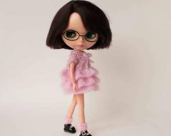 Blythe pink dress, Mohair Blythe doll clothes, Boho style blythe outfit, Short Blythe dress, Blythe knitwear, Doll clothing, Autumn outfit