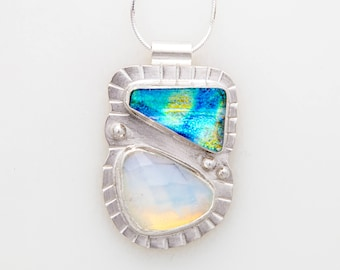 Moon Stone and Glass Pendant