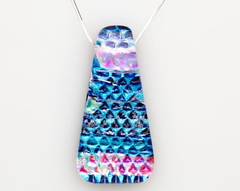 Blue and Pink Dichroic Necklace