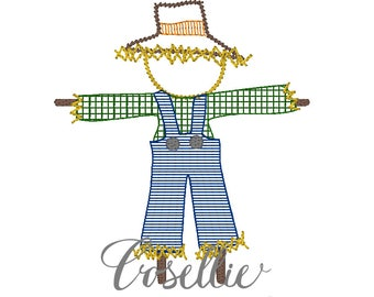 Scarecrow embroidery design, Fall embroidery design, Vintage stitch scarecrow, Thanksgiving embroidery design, Vintage Thanksgiving