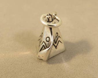 TEEPEE .925 Sterling Silver 3-D Charm Pendant Native American Indian Southwest Tipi Tepee Tee Pee Tribe New ow07