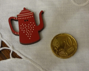 Wood coffee pot red collar, white polka dot button