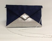 Evening bag in blue navy suedette and iridescent silver linen, WITH or WITHOUT  silver chain shoulder strap