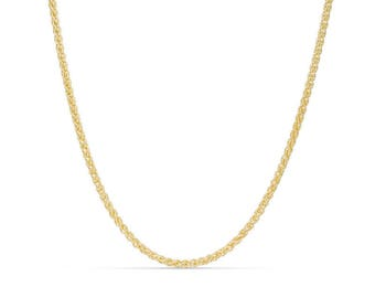 """10K 24"""" Solid Yellow Gold Round Wheat Chain"""