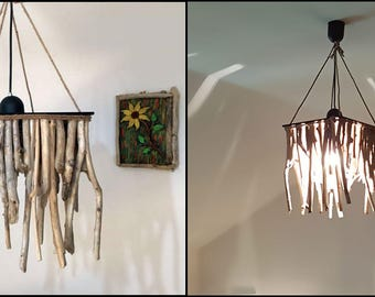 suspension lamp-shabby chic-wedding decor-handcrafted lamp chandeliers of driftwood drifrwood