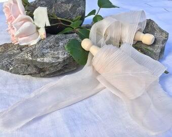 BLUSH hand dyed silk ribbon / sheer ribbon / plant dyed / eco dyed / wedding ribbon / styling ribbon / photo prop / pure silk ribbon
