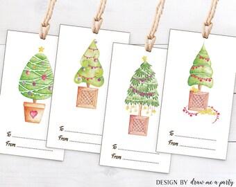 Christmas Printable Tags , Tree Christmas Download Tag , Christmas Gift Tags , DIY , Instant Download