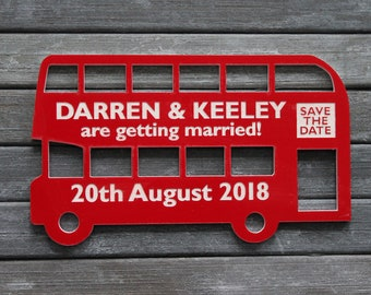 PERSONALISED LONDON ROUTEMASTER red bus Shaped Save the Date fridge Magnets