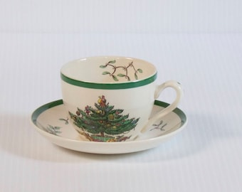 Vintage Spode Teacup and saucer set - Christmas Tea Cup Set with Christmas Tree and Mistletoe - 6 available