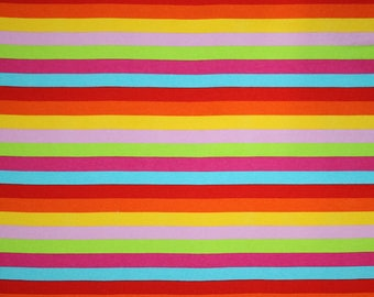 Knit Rainbow Stripes Fabric 1 yard