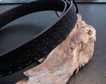 Leather Belt with Skull Design (USED)