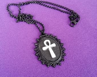 Black ankh medallion necklace