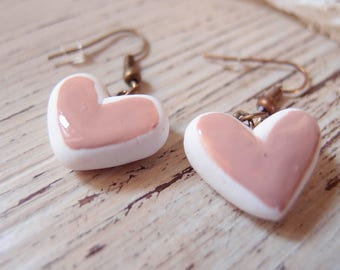 Heart Pendant earrings-heart Earrings-bridesmaid gift-shabby style earrings-Valentine's Day earrings-girl Gift