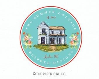house logo cottage logo cabin logo home decor logo interior design logo realty logo real estate logo premade logo design home logo
