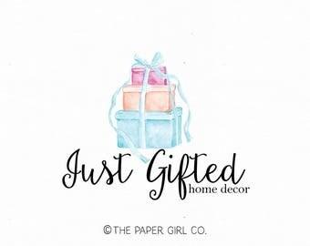 gift logo design presents logo design party logo design home decor logo party planner logo watercolor premade logo design wedding logo
