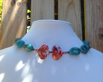 Natural Turquoise and Copper Necklace, Gemstone Statement Necklace, Southwestern Style Necklace, Heart Necklace