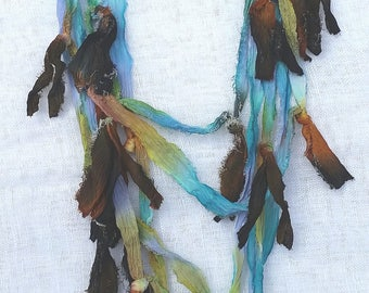 Teal, blue, tobacco, black, yellow hand dyed silk scarf/necklace