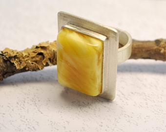 Amber Ring Silver Ring Massive Angular Cut Variable Size Silver Ring Butter Mat Amber