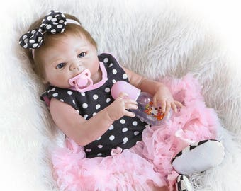 22'' Lifelike Newborn Full Body Silicone Vinyl Girl Reborn Gift Baby Dolls Handmade